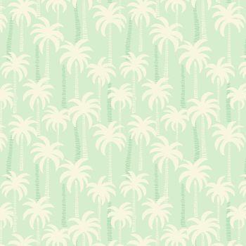 REMNANT Palm Trees on Aqua Mint Pale Blue Tropical Cotton Fabric