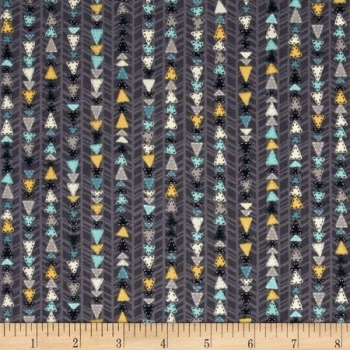 REMNANT All Aboard Triangle Tracks Geometric Grey Cotton Fabric