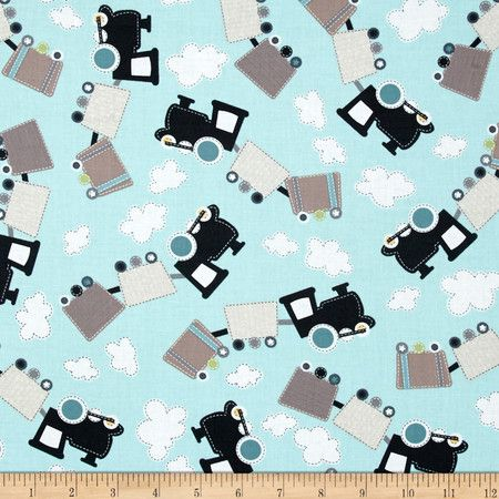 REMNANT All Aboard Train Station Patch Trains Track Cotton Fabric