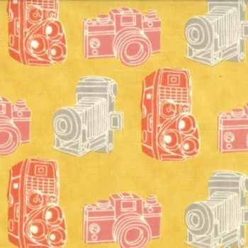 REMNANT Camera 2wenty Thr3e Kodachrome Cameras Mustard Cotton Fabric
