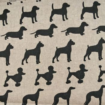 REMNANT Chatham Glyn Dog Breeds Dogs Silhouette Upholstery Weight Cotton Fabric per half metre