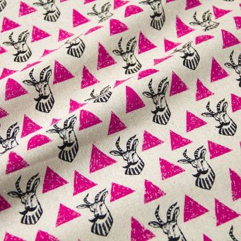 REMNANT Impala Pink Triangle Echino Kokka Japan Cotton Linen Canvas Fabric