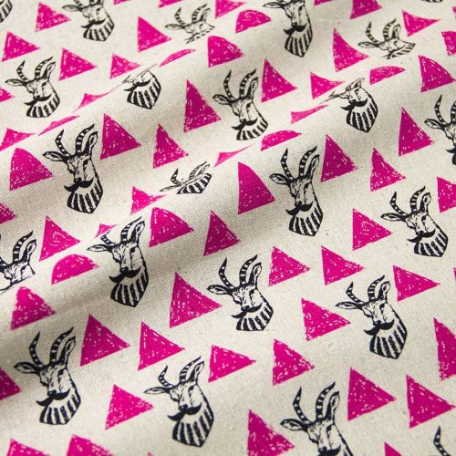 REMNANT Impala Pink Triangle Echino Kokka Japan Cotton Linen Canvas Fabric