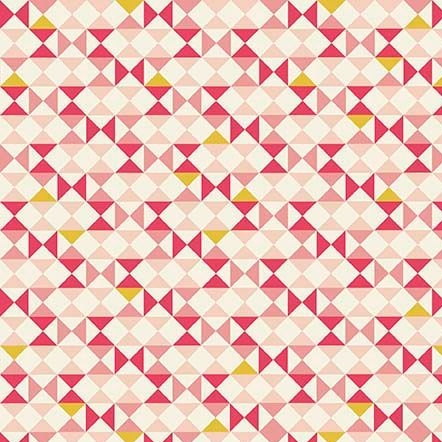 REMNANT Geometric Triangle Vintage Daydream on Pink Cotton Fabric