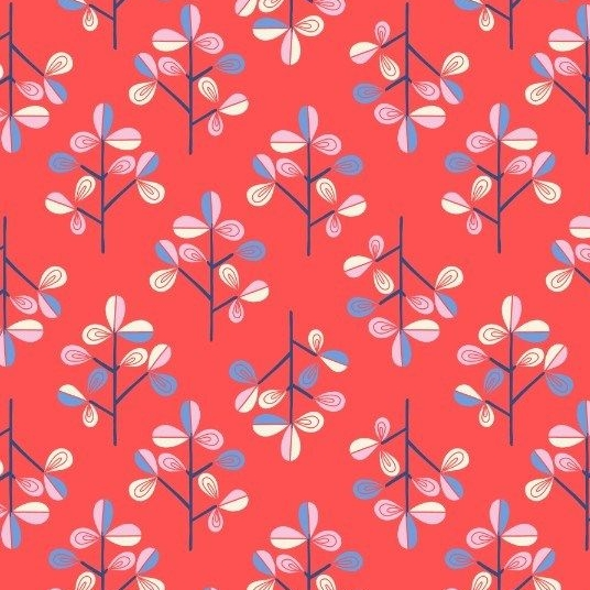 Hann's Tree on Red Hann's House Trees Botanical Cotton Fabric
