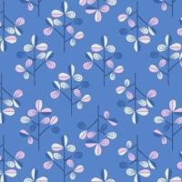 Hann's Tree on Blue Hann's House Trees Botanical Cotton Fabric