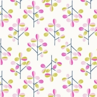 Hann's Tree on White Hann's House Trees Botanical Cotton Fabric