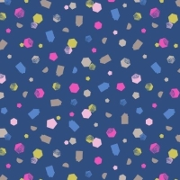 Geometric Shapes on Navy Hann's House Blue Hexagon Confetti Pink Cotton Fabric