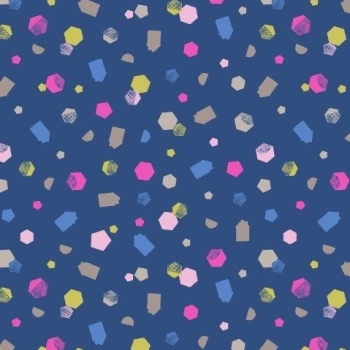 Geometric Shapes on Navy Hann's House Blue Hexagon Confetti Pink Cotton Fabric