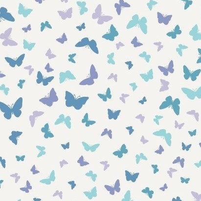 Sew Mindful Butterflies Blissful Blue Tiny Butterfly Cotton Fabric