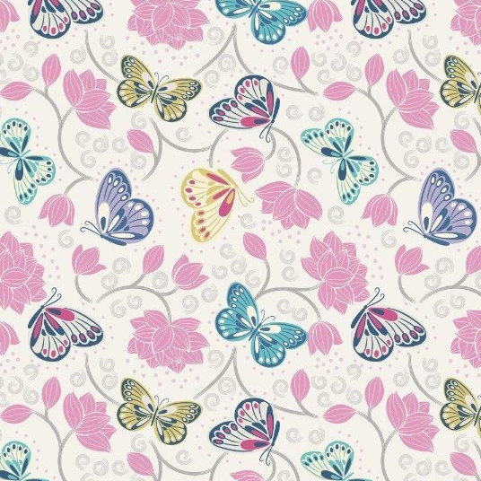 Sew Mindful Lotus Flowers on Cream Butterflies Floral Butterfly Cotton Fabr