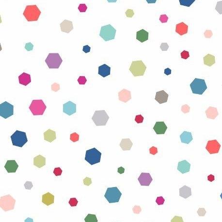 Geometrix Multi Hexagon on White Geometric Hexagons Confetti Bright Colours