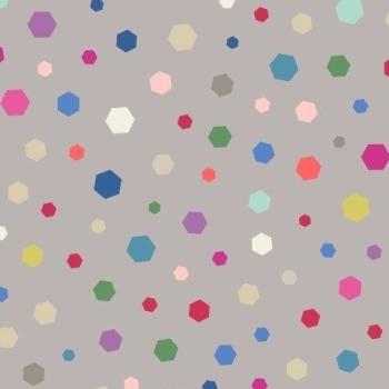 Geometrix Multi Hexagon on Grey Geometric Hexagons Confetti Bright Colours Cotton Fabric