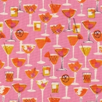 Poolside Shaken Happy Hour Cocktails Glasses Pink Drinks Cocktail Glass Cotton Fabric by Cotton + Steel
