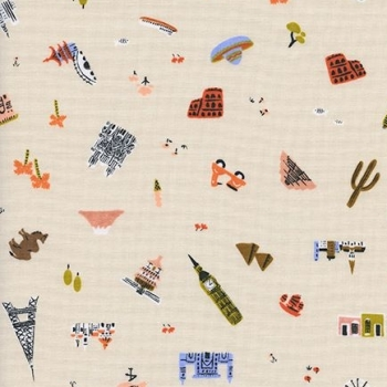 Amalfi Explorer Natural World Landmark Travel Vacation Holiday Cotton Fabric by Cotton + Steel and Rifle Paper Co.
