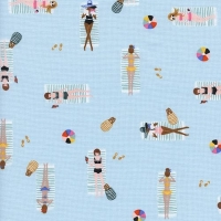 Amalfi Sun Girls Sky Blue Sunbathing Ladies Sunbathers Beach Travel Vacation Holiday Cotton Fabric by Cotton + Steel and Rifle Paper Co.