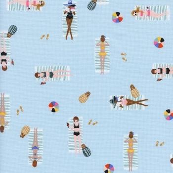 Amalfi Sun Girls Sky Blue Sunbathing Ladies Sunbathers Beach Travel Vacation Holiday Cotton Fabric by Cotton + Steel and Rifle Paper Co.
