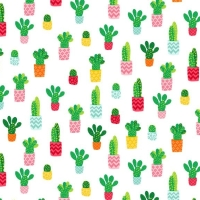 Cactus Plant Fruity Friends Green Cactus Succulent Cacti on White Cotton Fabric