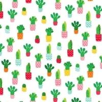 Cactus Plant Fruity Friends Green Cactus Succulent Cacti on White Cotton Fabric
