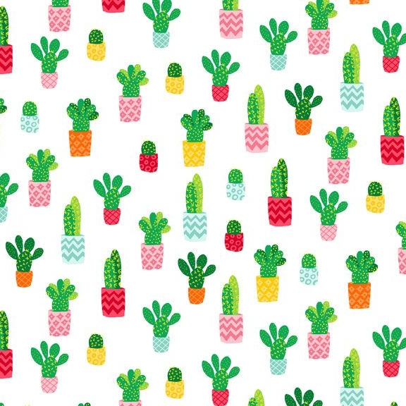 Cactus Plant Fruity Friends Green Cactus Succulent Cacti on White Cotton Fa