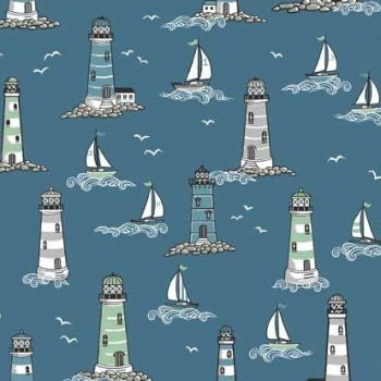 Beachcomber Lighthouses Scenic Coastal Nautical Lighthouse Seagull Sailing Boat Beach Cotton Fabric