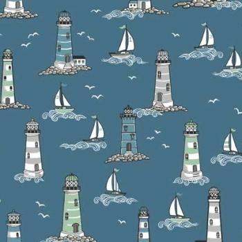 Beachcomber Lighthouses Scenic Coastal Nautical Lighthouse Seagull Sailing Boat Beach Cotton Fabric