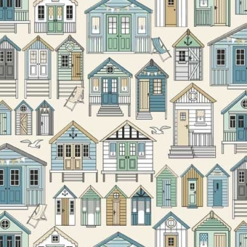 Beachcomber Beach Hut Coastal Nautical Seagull Beachhut Beach Huts Cotton Fabric