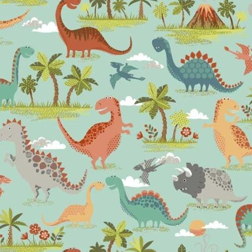 Rex Scenic Turquoise Dinosaurs Jurassic Dino Dinosaur Cotton Fabric