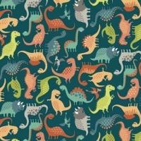 Rex Mini Scatter Turquoise Dinosaurs Jurassic Dino Dinosaur Cotton Fabric