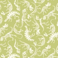 Rex Dinosaur Skeleton Fossil Dinosaurs Jurassic Dino Green Cotton Fabric