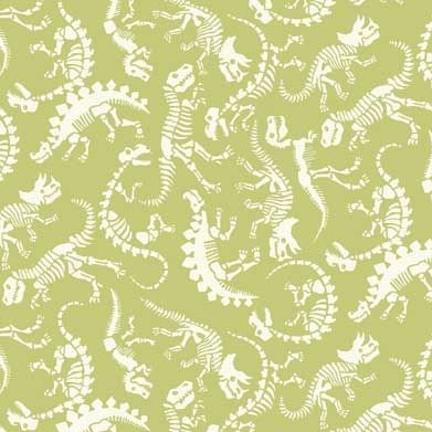 Rex Dinosaur Skeleton Fossil Dinosaurs Jurassic Dino Green Cotton Fabric