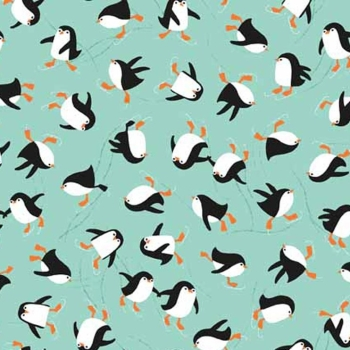 REMNANT Novelty Christmas Ice Skating Penguin Turquouse Penguins Festive Cotton Fabric