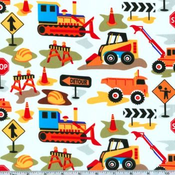 REMNANT Michael Miller Tot Town Dig It Building Construction Digger Cotton Fabric