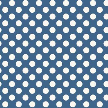 REMNANT Spot Blue White Polkadot on Blue Spotty Dotty Cotton Fabric