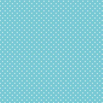 Spot On Sky Blue White Polkadot on Blue Spotty Dotty Cotton Fabric