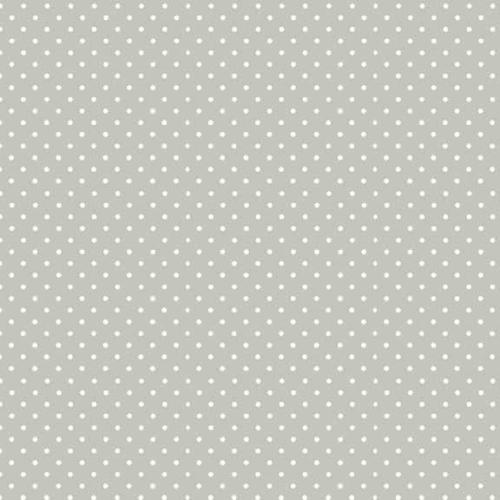 Spot On Silver Grey White Polkadot on Light Grey Cotton Fabric by Makower