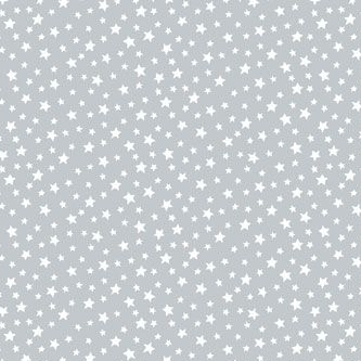 Star White Stars on Pewter Grey Essentials Blender Nursery Cotton Fabric
