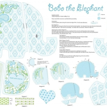 Bobo Baby Bobo the Elephant Softie Soft Toy DIY Panel Cotton Fabric