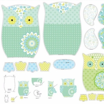 Owls and Pals Owl Softie Soft Toy DIY Panel Cotton Fabric
