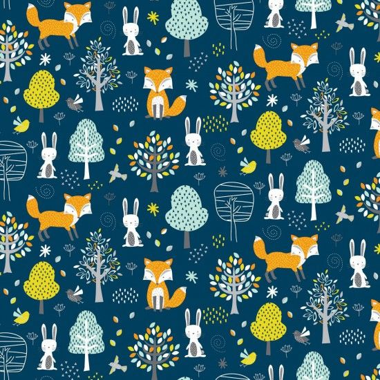 Woodland Friends Animals Fox Rabbit Bird Forest Woodland Blue Cotton Fabric