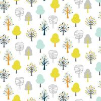 Woodland Friends Trees Forest Tree Botanical Leaf on White Leaves Nursery Cotton Fabric