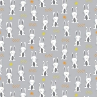 Woodland Friends Rabbits Forest Animals Bunny Rabbit Grey Cotton Fabric