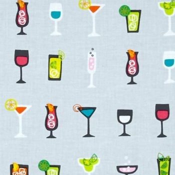 REMNANT Happy Hour Cocktails Glasses Silver Drinks Cocktail Glass Cotton Fabric