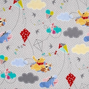REMNANT Disney Winnie the Pooh and Friends Pooh Everyday Kites with Dots Grey Gray Nursery Scenic Cotton Fabric