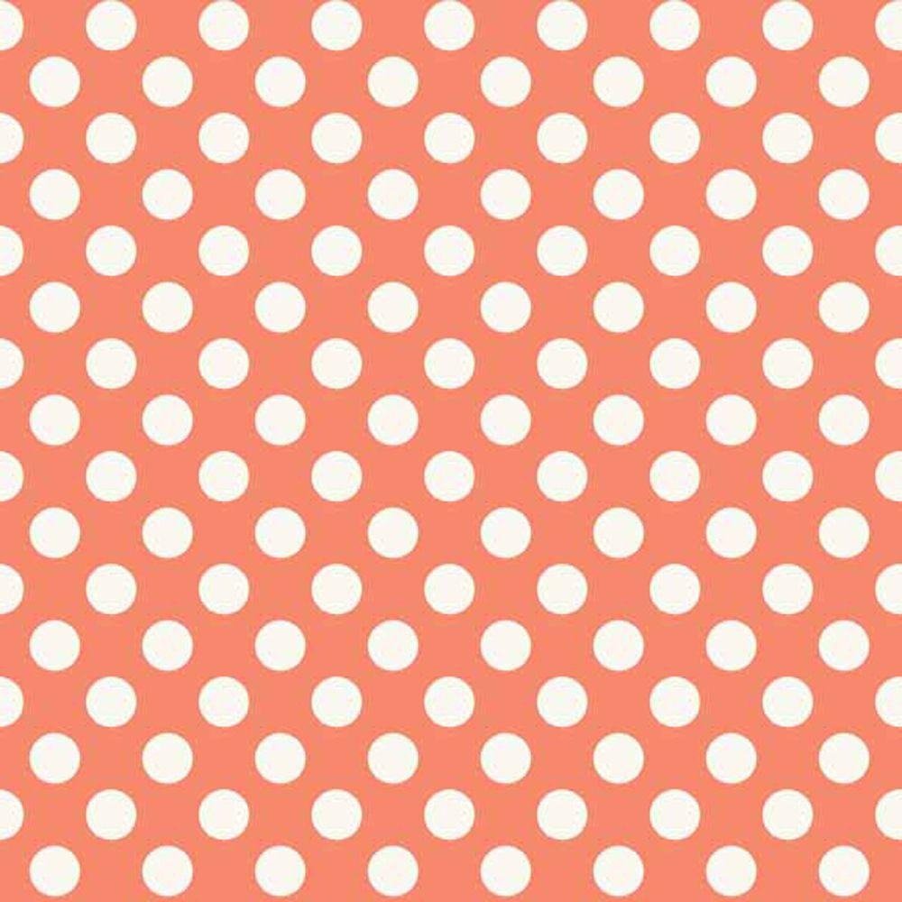 REMNANT Spot Rose White Polkadot on Coral Peach Spotty Dotty Cotton Fabric