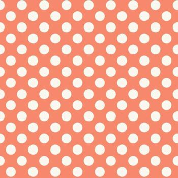 REMNANT Spot Rose White Polkadot on Coral Peach Spotty Dotty Cotton Fabric