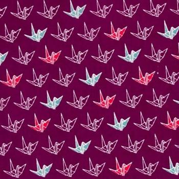 REMNANT Cosmo Sakura II Origami Plum Paper Crane Origami Japanese Cotton Fabric