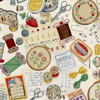 REMNANT Haberdashery Notions Scissors Thread Spools Cotton Fabric