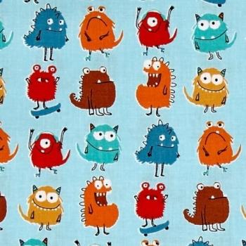 REMNANT Monsters Rows Adventure Blue Little Monster Creature Cotton Fabric