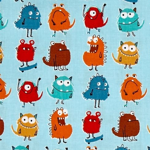 REMNANT Monsters Rows Adventure Blue Little Monster Creature Cotton Fabric